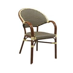 G & A Commercial Seating 815AR Beige/Brown Stacking Arm Chair with Mahogany Finish - G&A Commercial Seating - 815AR