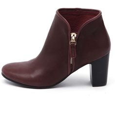 Django & Juliette Elurid Burgandy ($84) ❤ liked on Polyvore featuring shoes, boots, ankle booties, high heel bootie, leather boots, bootie boots, high heel ankle boots and genuine leather boots