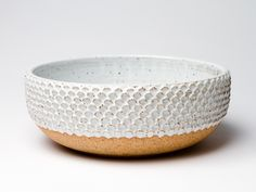 """wheel thrown stoneware bowl with hand pushed petal motif. aproximately 9"""" by 4"""""""
