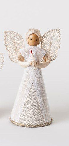 "Vintage Style Angel Figurine 8"" ~ Repro Paper and fabric Christmas decoration"