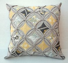 Off Decorative Pillow Cover Cathedral Window Quilt Modern Pillow Gray Yellow Pillow Gray Gold Pillow 18 Inch Yellow Pillows, Gold Pillows, Throw Pillows, Cathedral Window Quilts, Cathedral Windows, Patchwork Pillow, Quilted Pillow, Quilt Modernen, Modern Pillows