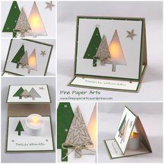 LICHTERKARTE TANNENWALD Heute möchte ich Euch eine weihnachtliche Lichterkarte zeigen. Sie hat ein Tannenbaumfenster aus Transparentpapier und mit Hilfe eins LED-Teelichtes kann man die Karte wunde…