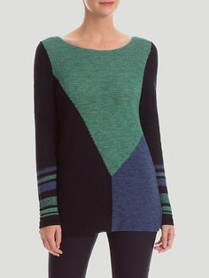 The Patchwork Top features geometric color blocking in lightweight yarns. Pair this sophisticated yet fun top with the Slim Wonderstretch Pant. Sweater Knitting Patterns, Knit Patterns, Knitting Designs, Hand Knitting, Creative Knitting, Color Block Sweater, Pulls, Knitwear, Knit Crochet