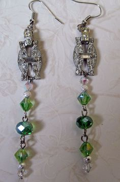 Lush Green and Crystal Earrings by RomanceandRuin on Etsy