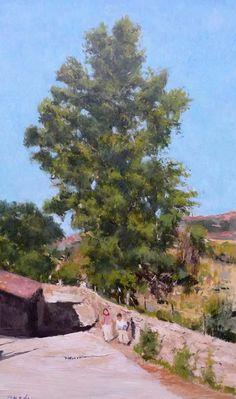 Paisaje de chopos oto o en castilla cuadro al oleo for Arboles que no pierden sus hojas en otono
