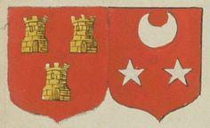 François JOUBERT, écuier, sieur de Cissé, et Françoise JOULARD, sa femme. Portent : de gueules, à trois tours d'or, massonnées de sable, deux en chef et une en pointe ; accolé de gueules, à un croissant d'argent en chef et deux étoiles de même en pointe   N° 5