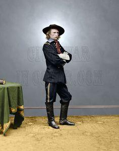 George Custer General Union Cavalry Color Tinted Photo Civil War 03110 | eBay American Civil War, American History, American Art, Native American, George Custer, George Armstrong, Colorized Photos, War Image, Civil War Photos