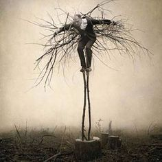 This is by photographers Robert and Shana ParkeHarrison--from the series Architect's Brother > Burn Season-Guardian. http://www.parkeharrison.com/  Both studied at UNM and I saw an exhibition of this work...quite large and very beautifully toned. Not a  Joel Peter Witkin
