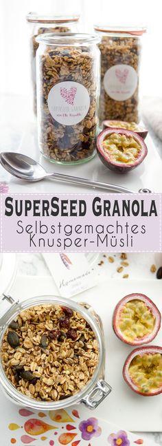 Selbstgemachtes Knusper-Müsli (Granola) Rezept einfaches Rezept für ein Knusper-Müsli mit Buchweizen, Sonnenblumenkernen, Kürbiskernen, Leinsamen, Chiasamen. Einfache, gesunde Rezepte, Vegan, vegetarisch, glutenfrei