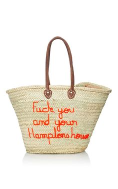 Fuck You And Your Hamptons House Panier Plage Tote by POOLSIDE for Preorder on Moda Operandi