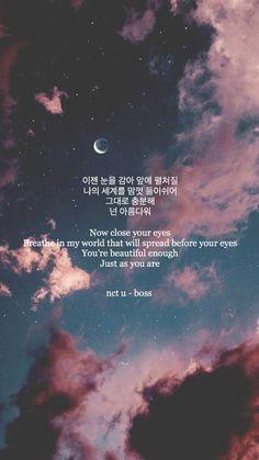 nct u-boss💫 nct u-boss💫 - Unique Wallpaper Quotes Pop Lyrics, Bts Lyrics Quotes, Korean Phrases, Korean Words, Nct, Song Lyrics Wallpaper, Wallpaper Quotes, Korea Wallpaper, Trendy Wallpaper