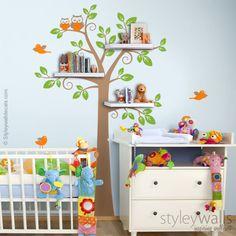Shelving Tree Kids Nursery Wall Decal Three Colors