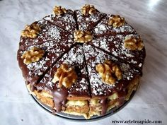Reteta de tort cu nuca - YouTube Romanian Food, Romanian Recipes, Dessert Recipes, Desserts, Food Videos, Waffles, Muffin, Food And Drink, Sweets