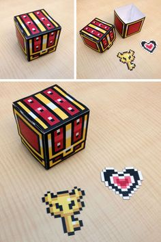 Legend of Zelda Treasure Chest #pixel papercraft. This would make an AWESOME Valentine's Day card/gift!