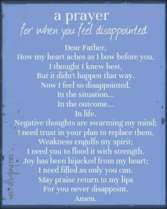 A Prayer when You Feel Disappointed