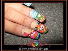 FUZZY CUTE MONSTERS Nail Art by Jennifer Perez of Mystic Nails ☆ http://www.MysticNailsPR.com
