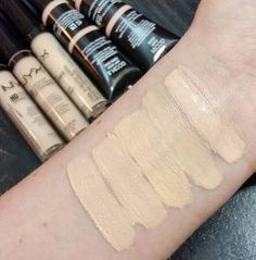 Nyx Concealer swatches, some of the new pale shades! Starting at my wrist: Gotcha Covered 01 Ivory, Gotcha Covered 01.5 Soft Ivory, HD concealer 00 Alabaster, HD concealer 01 Porcelain, HD concealer 02 Fair