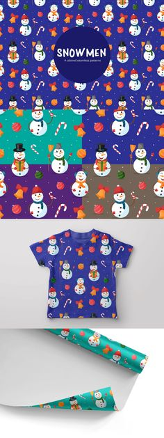 Snowmen vector free seamless pattern.