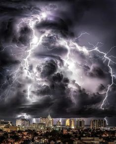 Miami thunderstorms - a composite of a 'lightening show' over South Beach, Miami. Mother Nature sure is amazing. Lightning Photography, Storm Photography, Exposure Photography, Nature Photography, Indian Photography, Photography Photos, Weather Storm, Weather Cloud, Wild Weather
