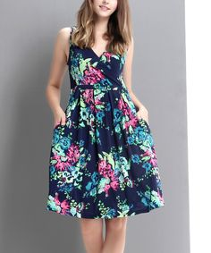 Reborn Collection Blue & Green Floral Surplice Fit & Flare Dress   zulily