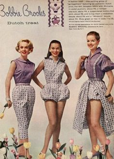From left to right: Tippi Hedren, Sandy Brown and Elinor Rowley in Bobbie Brooks ad, 1955