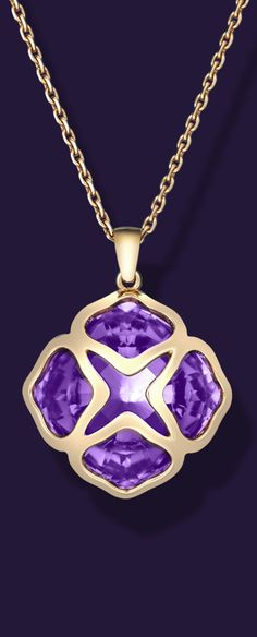 Crafted like lace, the rose gold of the Chopard  IMPERIALE pendant celebrates the beauty of amethyst.