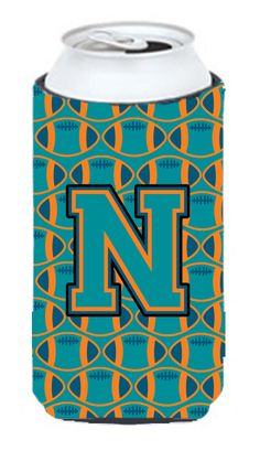 Letter N Football Aqua - Orange and Marine Blue Tall Boy Beverage Insulator Hugger CJ1063-NTBC #artwork #artworks
