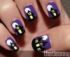 I'm usually not a fan of silly Halloween nails, but 1 or 2 nails like this would be cute!