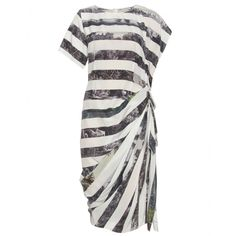 Photo Print Striped Gathered Silk Dress, Dries Van Noten