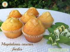 Magdalenas caseras fáciles. Homemade madeleines. Spanish Food, Mexican Dishes, Flan, Sin Gluten, Cooking Time, Donuts, Muffins, Food And Drink, Cupcakes
