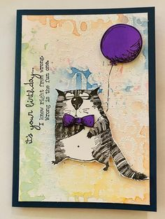 """Birthday """"I know right from wrong Sarcastic Cat"""" Card Tim Holtz Dies, Tim Holtz Stamps, Crazy Bird, Crazy Cats, Crazy Animals, Blog Art, Cat Cards, Card Tags, Making Ideas"""