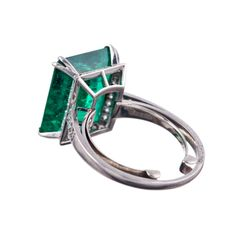 1955 CHAUMET Exceptional 7.80Ct Colombian Emerald Signed Ring | From a unique collection of vintage solitaire rings at http://www.1stdibs.com/jewelry/rings/solitaire-rings/
