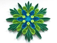 Snowflake Green Blue, Quilled Handmade Art, Paper Quilling, Home Decoration Idea, Christmas Tree Decor, Winter Ornaments. You can hang it on Christmas tree, use as fridge magnet, decorate Your bookshelf, dinner table or put it in lovely frame. Also can make an excellent addition to Christmas presents! Dimensions - 4 ″ x 4 ″ (10 cm x 10 cm) - a nickel (5 cent coin) for scale. Made from 1/4 ″ (5 mm) paper strips of 90 g/m2 paper.