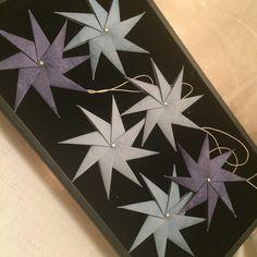 Set of 6 denim blue star ornaments