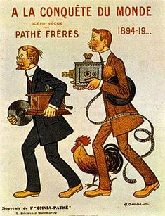 Adrien Barrere Poster for brothers Charles Pathe and Emile Pathe, Paris, Bibliotheque de l'Arsenal. (Photo by: Christophel Fine Art/UIG via Getty Images) Everything Film, Japanese Film, Cinema Film, Record Players, French Films, Expositions, Belle Epoque, Vintage Posters, Sisters