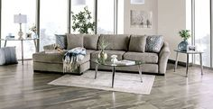 "SM9110 2 pc Canora grey Sigge light gray chenille fabric sectional sofa with chaise. This set features a chenille fabric upholstery with flared arms and pillow backs. Sectional measures 140"" x 75"" L x 45"" D x 37"" H . 28"" seat depth, 22"" seat height. Some assembly may be required."