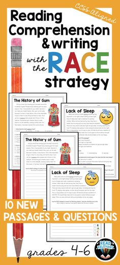 These 10 passages are paired with reading comprehension questions and writing prompts. They are perfect for preparing your students for reading and responding with text evidence. No-prep, ready to use worksheets!   #RACEStrategy #readingcomprehension #textevidence #RACEwriting Races Writing Strategy, Race Writing, 4th Grade Writing, 4th Grade Reading, Writing Strategies, Writing Prompts, Writing Ideas, Reading Intervention, Reading Skills