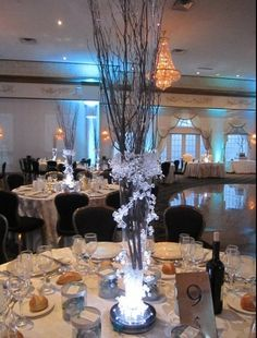 Iced Branch Centerpieces - Winter  Wedding Centerpieces