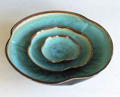 By Clear Mountain Art via etsy: Nesting Bowl Set- Made to Order - Turquoise Black Brown Ceramic Pottery - Set of 3
