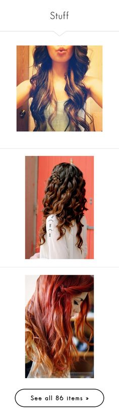 """""""Stuff"""" by mockingcardinals on Polyvore featuring hair, cabelos, hairstyles, hair styles, beauty, beauty products, haircare, hair styling tools, people and hair color"""
