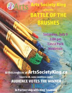 """Battle of the Brushes"" painting competition is on Saturday July 9 in Nobleton. Painting Competition, Art Society, Wood Bridge, Family Events, Romantic Getaways, Brushes, Battle, How To Apply, Horse"