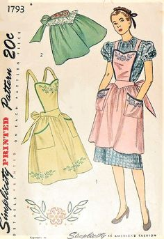 40s CHARMING Aprons Pattern SIMPLICITY 1793 Three Pretty Apron Styles Includes Embroidery Transfer Vintage Sewing Pattern