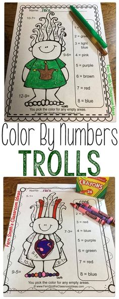 Are the parents asking for work to take home over the summer? This TROLL Summer Review book is perfect! Addition & Subtraction Facts - Color By Numbers Printables includes: 4 No Prep Printables that can also be used for your math center, small group, RTI pull out, seat work, substitute days or homework, answer keys included too! Perfect for first graders rising to second grade and 2nd graders rising to third grade. Help prevent the summer slide! #FernSmithsClassroomIdeas