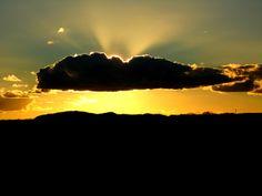 Summer, Sunset, sol, nuvem, sky