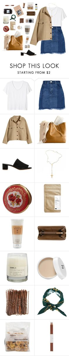 """""""Untitled #8"""" by ruthay6 ❤ liked on Polyvore featuring Monki, H&M, Mansur Gavriel, Child Of Wild, Paper & Tea, Tocca, Burberry, Le Labo, Hermès and Faber-Castell"""