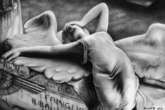 Ribaudo Monument - Cemetery Staglieno Pencil and airbrush on paper. 39 cm x 26 cm May 2014. www.facebook.com/artsderek