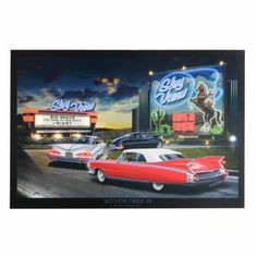 Skyview Drive Pre-Lit Canvas Art Print from Kirklands. Great for a Route 66 theme.