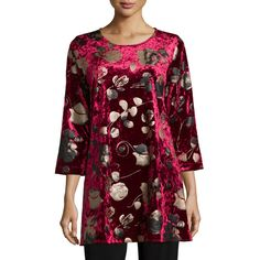 Caroline Rose 3/4-Sleeve Panne Velvet Tunic W/ Shimmer (207 AUD) ❤ liked on Polyvore featuring tops, tunics, ruby, 3/4 sleeve boatneck top, floral tops, flower print top, shimmer top and 3/4 sleeve tops