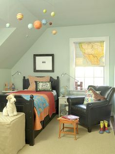 A large map was cut to cover a roller shade, now this is brilliant! Via BHG