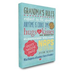 Stupell Decor Grandmas Rules with Icons Canvas Wall Art - MWP-188_CN_16X20